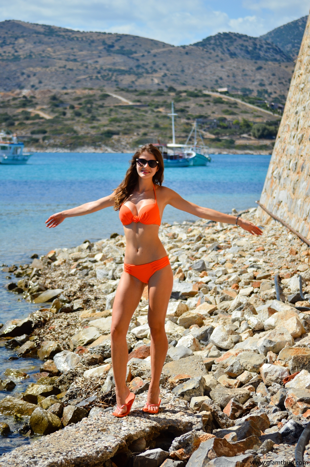 Beach Body, Island in Crete, orange swimsuit, jolidon