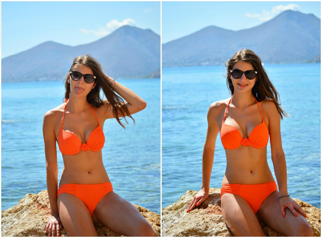 Beach Body, Island in Crete, orange swimsuit, jolidon