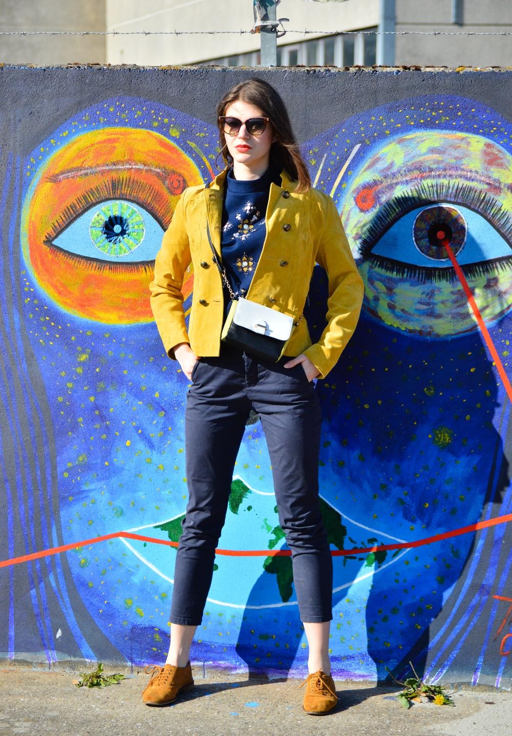 oversized shirt,street art denmark, embellished shirt,lifestyle blogger,the suede jacket,glamthug, how to wear suede,cerasela bortos
